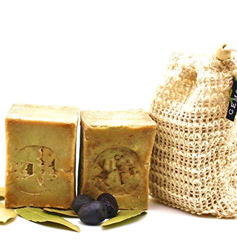 GEMS Original Aleppo Seife Set, 90% Olivenöl 10% Lorbeeröl, 2x ca.110g + Sisal Seifensäckchen, Handmade, Vegan, Naturprodukt, Haarseife, Duschseife, Original Rezeptur