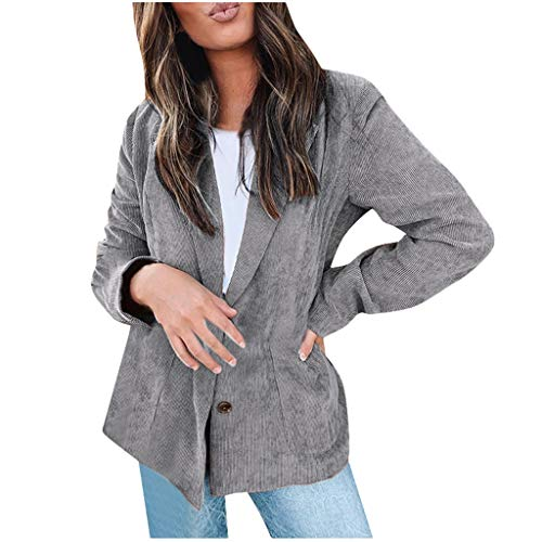 QIQIU Womens Lapel Open Voorvak Casual Office Mode Lange Mouw Vest Vest Losse pak jas S-XXL