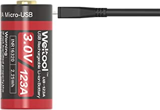 Weltool UB-123A 3.0V Rechargeable Battery Build-in USB Port 750mAh Battery Replacement for CR123A Battery for Cameras, Photo Equipment, LED flashlights, Light Meters