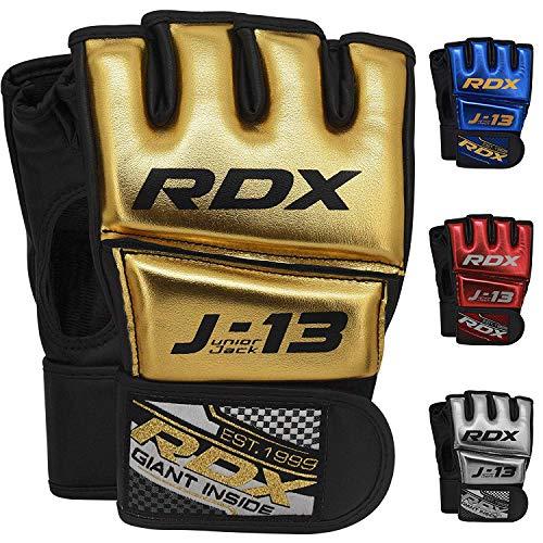 RDX Kinder MMA Handschuhe für Kampfsport Training | Junior Metallic Leder Kickboxen Grappling Gloves | Punchinghandschuh für Sparring, Freefight, Muay Thai, Boxsack, Sandsack (MEHRWEG)