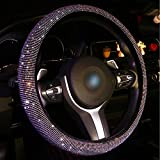 Vandz Bling Steering Wheel Cover for Women Girls, Crystal Diamond Leather Car SUV Wheel Protector 15 Inch (Multicolor)
