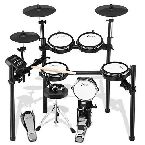Donner Mesh E-Drum Kit Elektronisches Schlagzeug Mit Hocker, Drumsticks, Kopfhörer und Audiokabel (DED-200)
