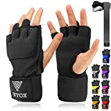 WYOX Boxing Wraps MMA Gloves Inner Boxing Gloves for Men Women Youth - EZ-Off & On - Thick Knuckle Padding - Breathable Fabric Hand Wraps Heavy Bag Gloves (Black, S/M)