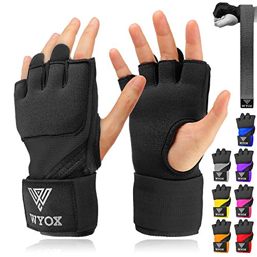 WYOX Boxing Wraps MMA Gloves Inner Boxing Gloves for Men Women Youth - EZ-Off & On - Thick Knuckle Padding - Breathable Fabric Hand Wraps Heavy Bag Gloves (Black, L/XL)