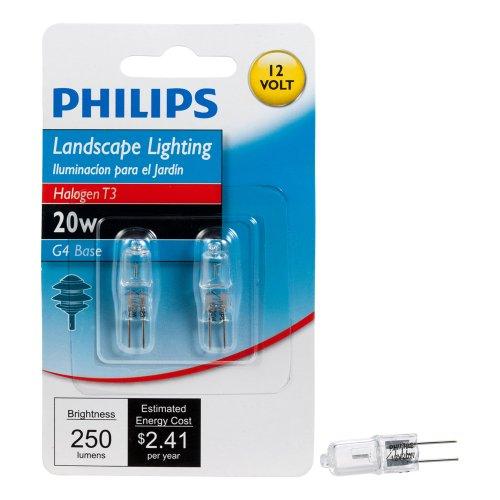 Philips Outdoor Landscape T3 Light Bulb, 250 Lumen, Soft White Light (2800K), 20-Watt, 12-Volt, Bi-Pin Base, 2-Pack