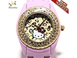 ninamewニーナミュウ 腕時計 - レディース Hello Kitty/ラインストーンベゼル ベージュ×ダークブラウン×マルチ