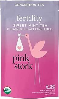 Pink Stork Fertility Tea: 90 Cups, Sweet Mint Tea, USDA Organic, Support Female Fertility, Healthy Cycle, Hormone Balance, Biodegradable Sachets