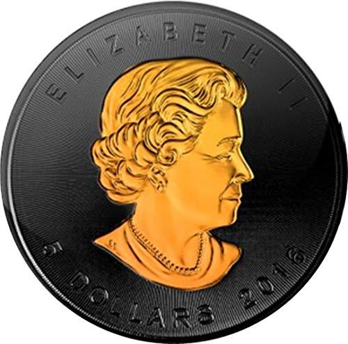 Chewies - Moneda 2016 Canadá, Plata Pura .9999, Oro de 24 CT, Relieve anverso y Reverso, Ccmpo de rutenio Negro, no es una reproducción
