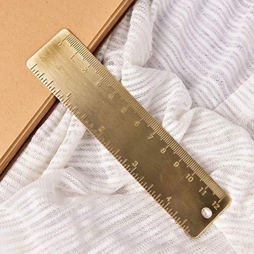 SUPERTOOL Regla de acero inoxidable, 12 cm, latón puro, dorado, medición precisa, regla de marcador para escuela, oficina, taller y hogar (1 unidad)