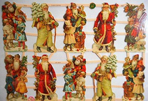 Glanzbilder Weihnachten Weihnachtsmann EF 7313 Oblate Posiebilder Scrapbook Deko GWI 546