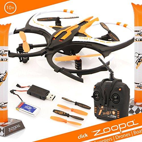 zoopa Q 165 riot Race-Quadro - Tritt an zum Rennen gegen deine Freunde || inkl. 2,4GHz Fernsteuerung | Licht | 360° Flipfunktion | 3 Geschwindigkeiten (ZQ0166) | Lieferung aus Deutschland