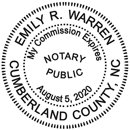 Round Notary Stamp for State of North Carolina- Self Inking Stamp - Top Brand Unit with Bottom Locking Cover for Longer Lasting Stamp - 5 Year Warranty