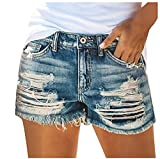 NIDOV Denim Shorts for Women Distressed Ripped Cut Off Jean Shorts Comfy Stretchy Blue M