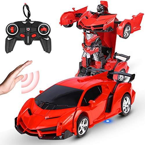 Coche teledirigido con transformador RC para niños, juguete teledirigido para niños, giro de 360 °, frenado, juguete recargable, con llave para coche, coche de deformación