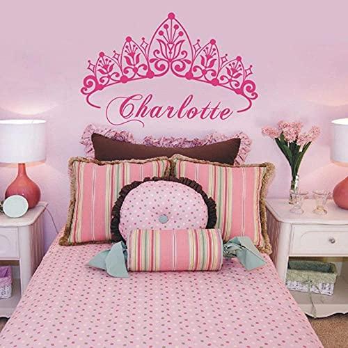 Adhesivos de pared personalizados con adhesivos de pared con nombre de niña, con decoración de pared de princesa corona personalizada, adecuado para habitaciones de niños 64x42cm