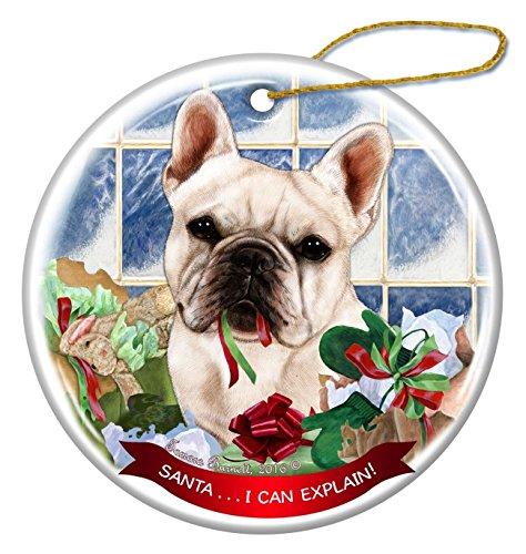 White French Bulldog Dog Porcelain Ornament Pet Gift Santa I Can Explain!