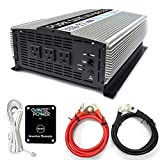 GoWISE Power PS1004 3000W Continuous 6000W Surge Peak Power Pure Sine Wave Inverter with Starter Cables and 4 Output Sockets, Updated Model, Grey, Standard