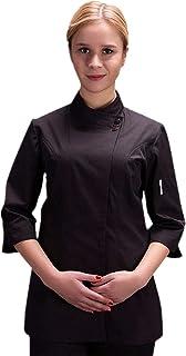 Women's Chef-Coat 3/4 Sleeve Concealed Snap Chef Work Uniform Summer Chef Jacket