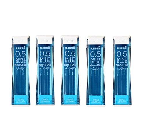 Uni NanoDia Color Mechanical Pencil Leads 0.5mm Mint Blue, 5 Pack/total 100 Leads Value Set