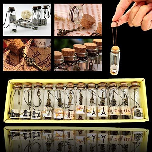 SNY Mini Botellas de Cristal con Tapones de Corcho,Mini Viales de Vidrio de Mensaje,Botellas de Deseo,Botellas Pequeñas de Vidrio,Mini Botellas,para Bodas, Decoraciones, Manualidades