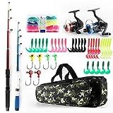 Fishing Rod Reel Combos Telescopic Fishing Pole Spinning Reels Full Kit,1.3M&1.6M Fishing Rods+2PCS Spinning Reels+Lures Hooks+Fishing Bag,Fishing Kit for Kids Family (1.3M & 1.6M, Red & Blue)