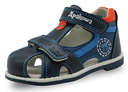 Apakowa Boy's Double Adjustable Strap Closed-Toe Sandals (Toddler) Blue