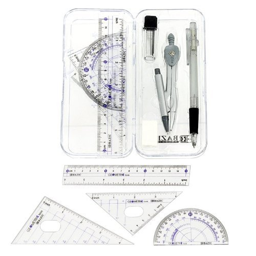 Math Geometry Tool Set - 8 Pieces - Rulers, Protractor, Compass and Pencil