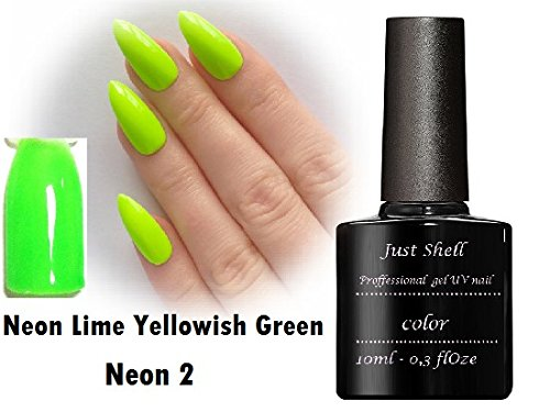 JUST SHELLAC GEL Vernis Couleur a Ongles Neon Lime Yellowish Green professionnels gel UV Semi Permanent UV/LED 10ml