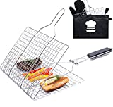 Grill Basket Stainless Steel Folding with Brush and Heat-Resistant Glove - Portable Outdoor Camping BBQ Accessories Rack for Grilling Fish, Chicken, Meat, Steak, Vegetables, Kabobs, Chops, Seafood