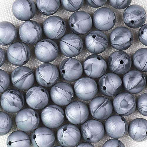 100 Pcs Silicone Loose Bead Craft Set for Jewelry, Necklaces & Bracelets BPA Free/Non-Toxic-100 Pcs (12mm,Metallic Silver)