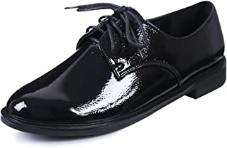 sorliva Women's Lace Up Oxfords Patent Leather Brogue Wingtip Flats Vintage Dress Shoes