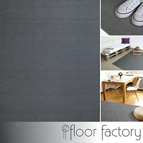 floor factory Moderner Baumwoll Teppich Living grau 80x150cm - waschbarer Webteppich aus 100% Baumwolle