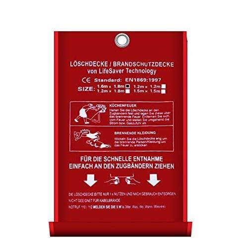 Löschdecke Brandschutzdecke gross I 1x1 m nach DIN EN 1869 geprüft I Feuerlöschdecke I Sicheres Feuer löschen mit Qualität Bringt Sicherheit in Ihr Heim oder für Ihre Arbeit 1.6 x 1.8 m