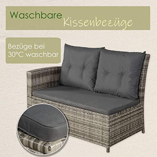 ArtLife Polyrattan Sitzgruppe Lounge Santa Catalina beige-grau | dunkelgraue Bezüge | Gartenmöbel-Set mit Ecksofa, Hocker & Tisch - 7