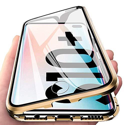 Caler Caso compatible con Samsung Galaxy S10 Plus cubierta magnética 360 grados Golden Gold
