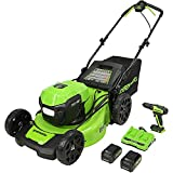 Get Greenworks 2 x 24V (48V) 20-Inch Brushless Push Mower, (2) 4Ah USB Batteries and Dual Port Rapid Charger + 24V Brushless Drill / Driver, MO48L4210-D Just for $399.99