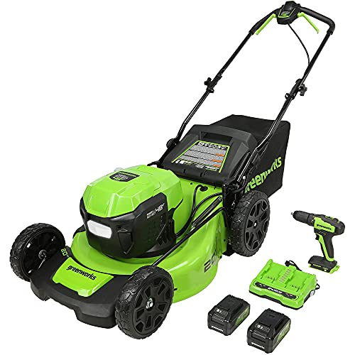 Greenworks 2 x 24V (48V) 20-Inch Brushless Push Mower, (2) 4Ah USB Batteries and Dual Port Rapid Charger + 24V Brushless Drill / Driver, MO48L4210-D