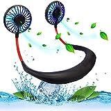 Hand Free Neck Fan, Rechargeable Mini USB Personal Fan, Headphone Design Wearable Neckband Fan with 360° Rotation, 3 Adjustable Speeds(Black+Red)