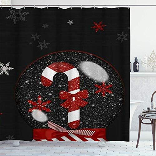 DYCBNESS Cortina de Ducha,Linda Bola de Cristal de Navidad Copo de Nieve Rojo Bowknot bastón de Caramelo,Material...