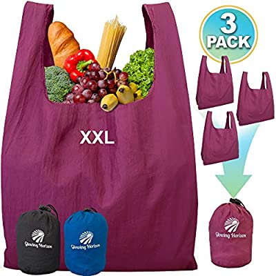 Reusable Shopping Bags Set with Pouch XL Grocery Bags Reusable Foldable in One Compact Pouch - Heavy Duty Parachute Nylon - Environment-friendly Bag Lightweight XL and Washable -Plum 3 pack