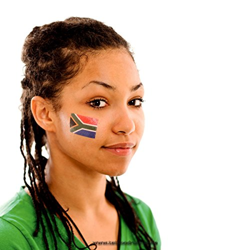 10 x Südafrika Tattoo Fan Fahnen Set - South Africa Temporary Tattoo Flag (10)