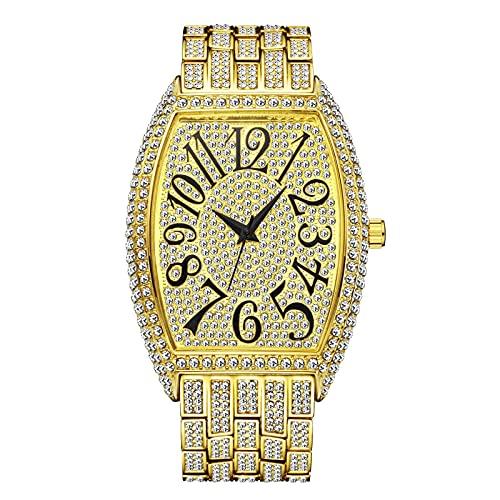 Fantex 18 K 42 mm Iced Out Tank Tonneau Case Forma Clásica Reloj de Pulsera Bling CZ Diamante Cuarzo Elegante Reloj de Pulsera para Hombres Mujeres, Cubic Zirconia,