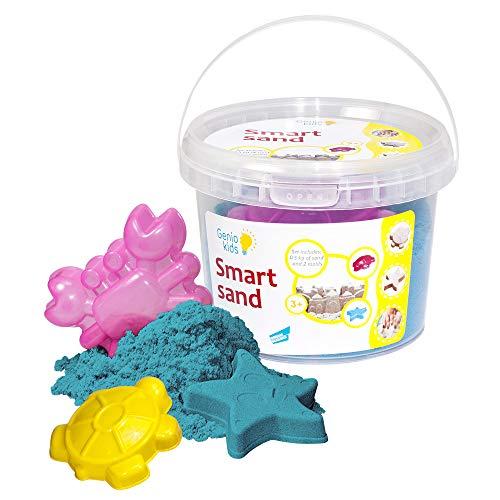 GenioKids Smart Sand Sensory Play Modeling Indoor Sand - Plastilina para interior (0,5 kg), color azul