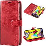 Mulbess Handyhülle für Samsung Galaxy M31 Hülle Leder, Samsung Galaxy M31 Klapphülle, Samsung Galaxy M31 Schutzhülle, Handytasche für Samsung Galaxy M31 Tasche, Wein Rot