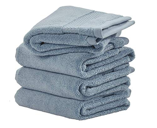 Price comparison product image iDesign Set of 4 Hand Towels,  Small Embellished Towel Set Made of 100 Percent Cotton,  Soft Towels Set for Bathroom,  Shower Room or Kitchen,  Grey Blue