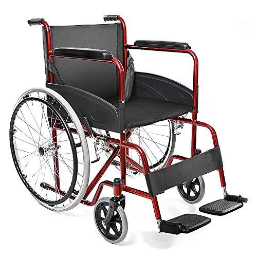 XTMM Silla De Ruedas Plegable Luz Y -Silla De Ruedas Manual Ancianos Reposabrazos Y Reposapiés Básicos Cinturón De Seguridad