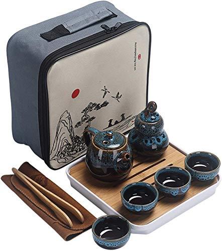 Lifattitude Kungfu-Tee-Set, Keramik, tragbar, Reise-Teeset mit Teekanne, Teetassen, Teedose, Teetablett und Reisetasche, geeignet für Reisen, Zuhause, Outdoor und Büro (blau)