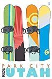 Park City, Utah, Ride, Snowboards in Snow (9x12 Art Print, Wall Decor Travel Poster)