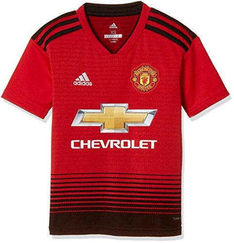 adidas 18/19 Manchester United Home, T-Shirt Sportiva Bambini e Ragazzi, Real Red/Nero, 7-8A