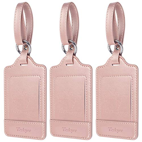 Teskyer Luggage Tags, 3 Pack Premium PU Leahter Luggage Tags Privacy Protection Travel Bag Labels Suitcase Tags